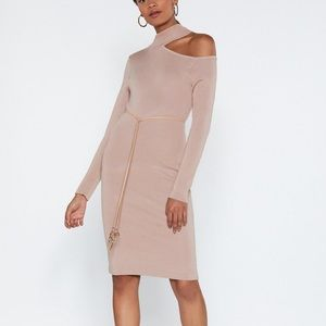 NWT NASTY GAL Side Cut Out Knit Midi Dress M/L